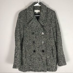 Calvin Klein tweed peacoat jacket black button